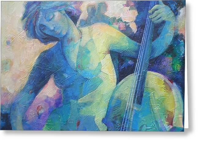 Playing Musical Instruments Greeting Cards - Twilight Rhapsody - Lady Playing the Cello Greeting Card by Susanne Clark