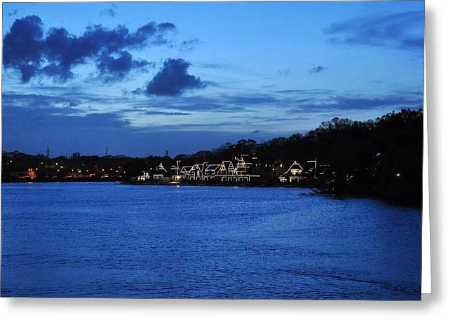 Boathouse Row Greeting Cards - Twilight Row Greeting Card by Andrew Dinh