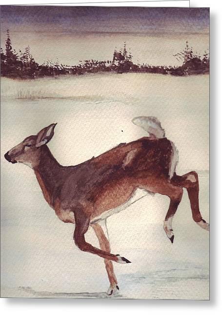 Twilight Run Greeting Card by Debra Sandstrom