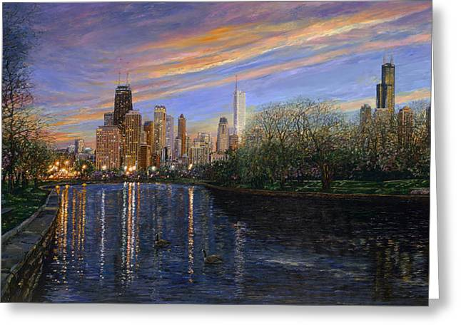 Lights Reflecting On Water Greeting Cards - Twilight Serenity Greeting Card by Doug Kreuger