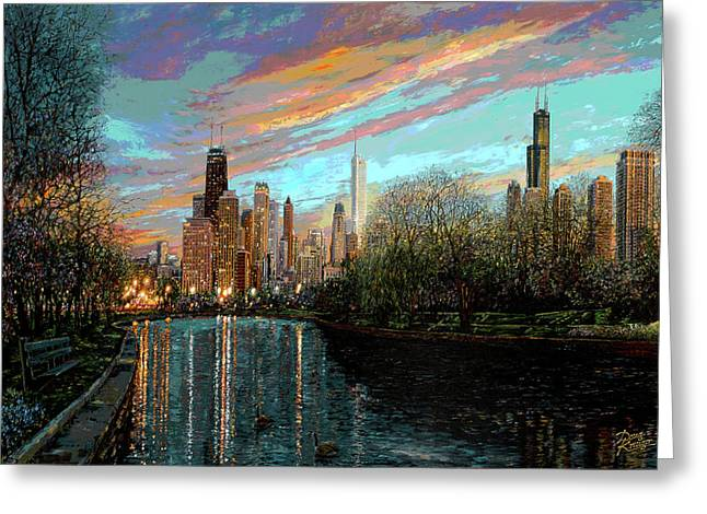 Lincoln Park Lagoon Greeting Cards - Twilight Serenity II Greeting Card by Doug Kreuger