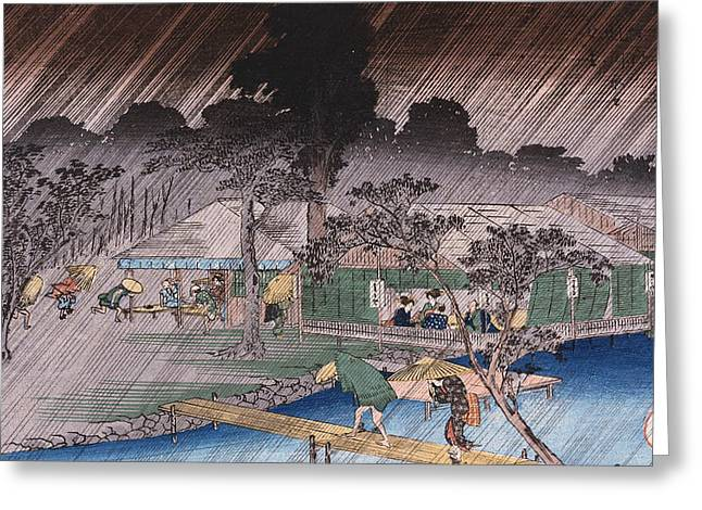 Twilight Shower At Tadasu Bank Greeting Card by Hiroshige