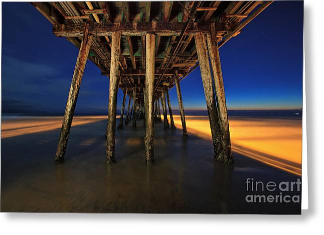 Twilight Under The Imperial Beach Pier San Diego California Greeting Card