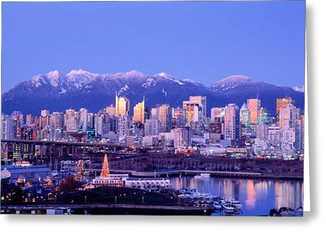 Twilight, Vancouver Skyline, British Greeting Card by Panoramic Images