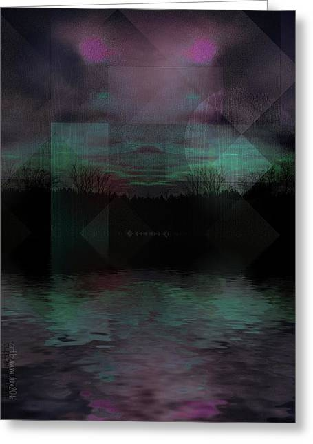 Greeting Card featuring the digital art Twilight Zone by Mimulux patricia no No