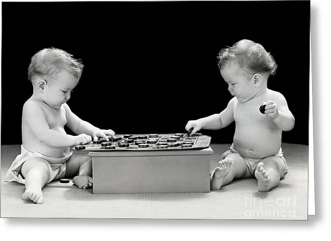 Twin Babies Playing Checkers, C.1930-40s Greeting Card by H. Armstrong Roberts/ClassicStock