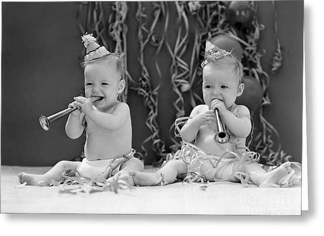 Twin Babies With Party Hats, C.1940s Greeting Card by H. Armstrong Roberts/ClassicStock