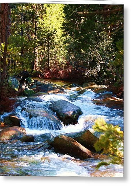 Twin Bridges Cascades Greeting Card by Russell  Barton