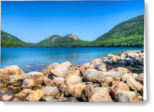 Twin Bubble Mountains Acadia National Park Maine Greeting Card by Douglas Barnett