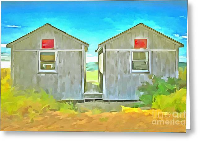 Twin Cottages Craigsville Beach Cape Cod Greeting Card by Edward Fielding