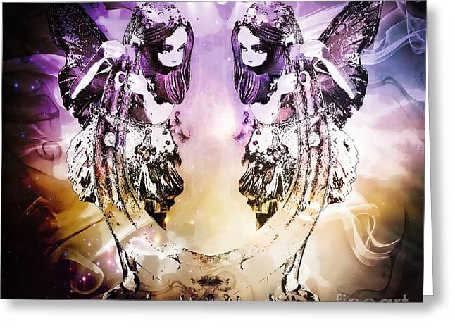 Frizzell Greeting Cards - Twin Fairies 2 Greeting Card by Michelle Frizzell-Thompson