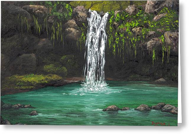 Greeting Card featuring the painting Twin Falls 2 by Darice Machel McGuire
