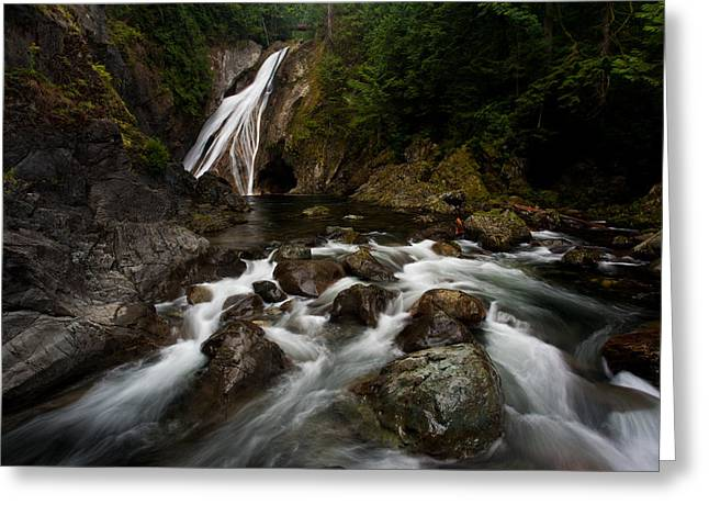 Twin Falls Landscape Greeting Card by Mike Reid