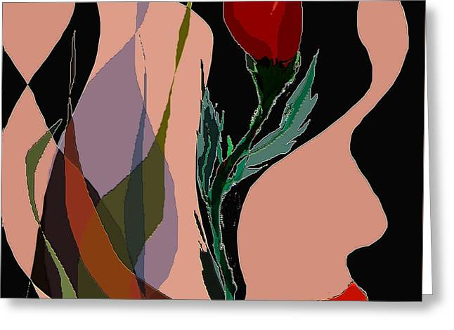 Twin Fire Flower Head 2 Greeting Card by Navo Art