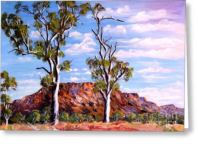 Twin Ghost Gums Of Central Australia Greeting Card