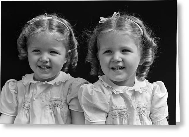 Twin Girls, 1930 Greeting Card by H. Armstrong Roberts/ClassicStock
