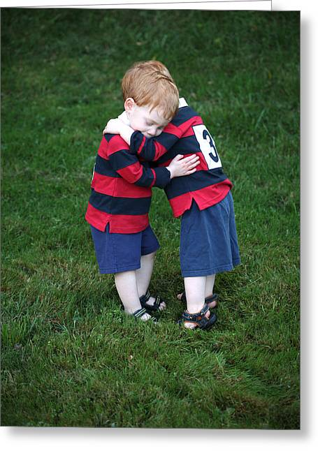 Twin Hug Greeting Card by Stuart Monk