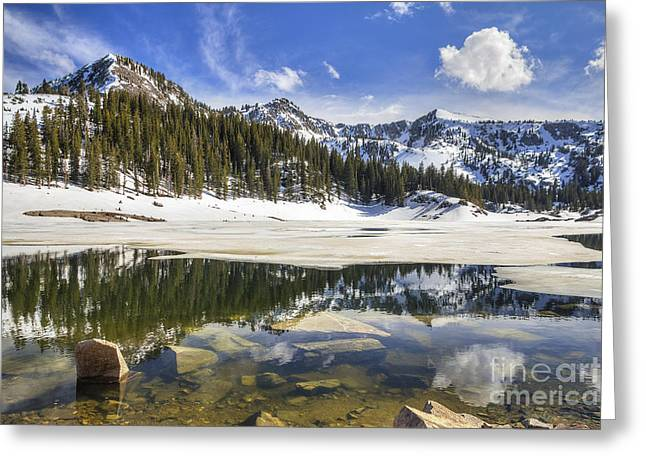 Twin Lakes Reservoir Melting Ice Greeting Card