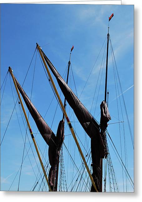 Sailing Ship Greeting Cards - Twin Mast Greeting Card by Terence Davis