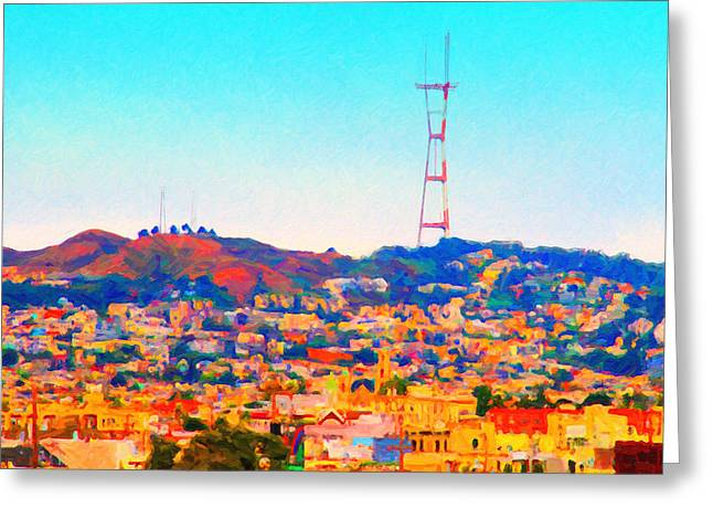 Twin Peaks Greeting Cards - Twin Peaks in San Francisco Greeting Card by Wingsdomain Art and Photography