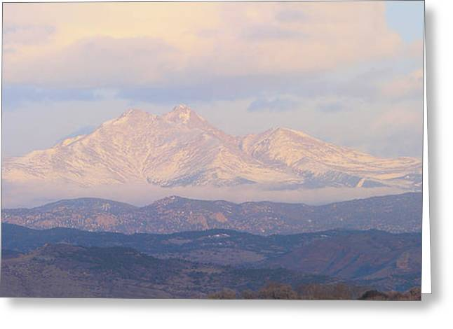 Twin Peaks Meeker And Longs Peak Panorama Color Image Greeting Card by James BO  Insogna