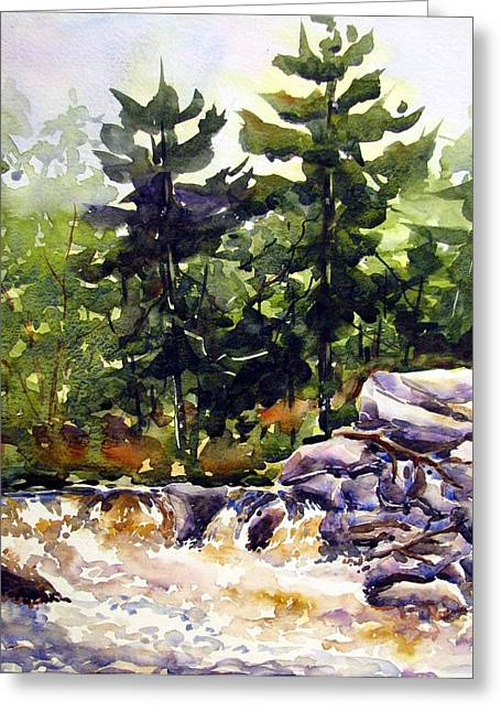 Twin Pine Rapids Greeting Card by Chito Gonzaga