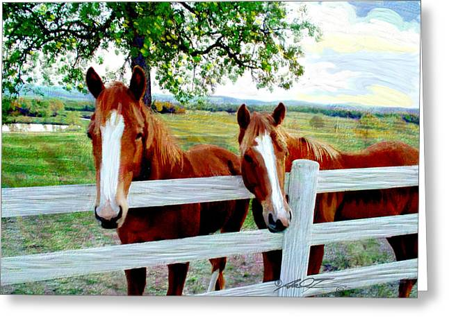 Twin Ponies Greeting Card