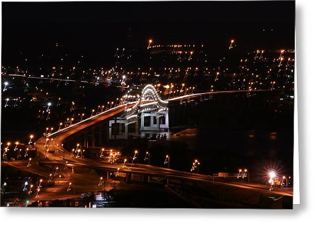 Greeting Card featuring the photograph Twin Ports By Night by Ron Read