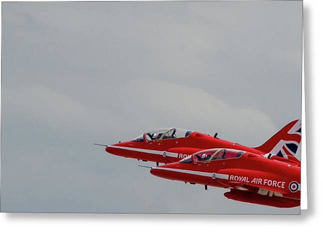 Greeting Card featuring the photograph Twin Red Arrows Taking Off - Teesside Airshow 2016 by Scott Lyons