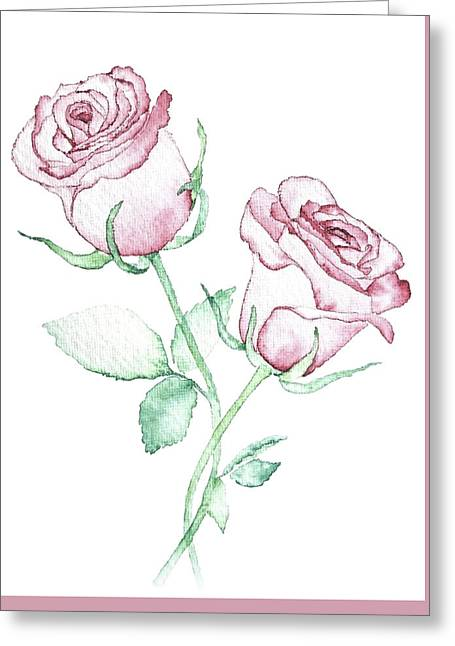 Twin Roses Greeting Card by Varpu Kronholm