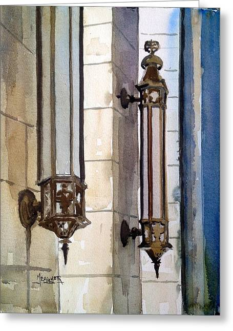 Twin Sconces Greeting Card by Spencer Meagher