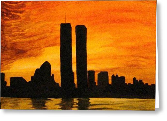 Twin Towers Silhouette Greeting Card