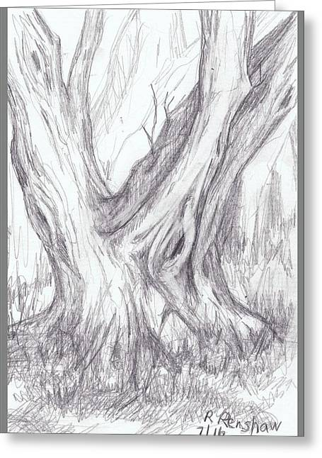 Twin Tree Greeting Card by Ruth Renshaw