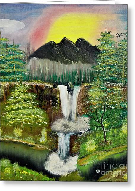 Twin Waterfalls Greeting Card