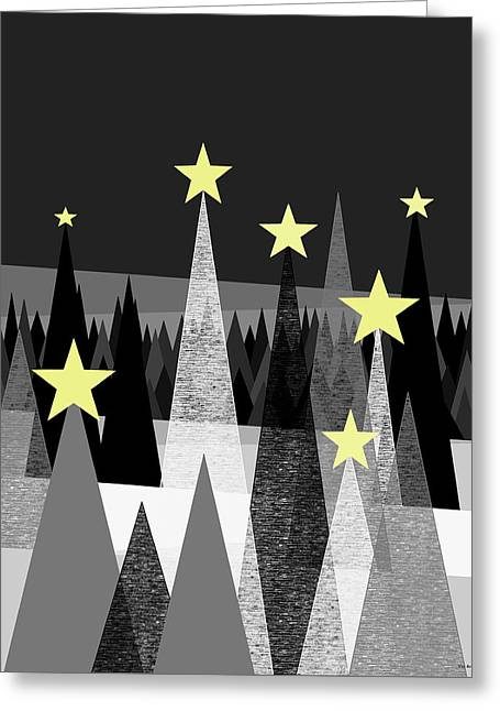Twinkle Night Greeting Card by Val Arie