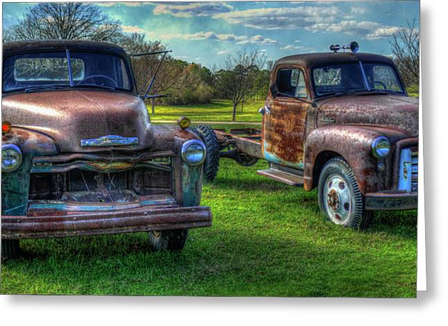 Almost Twins 1952 Chevrolet 1952 Gmc Flatbed Truck Art Greeting Card by Reid Callaway