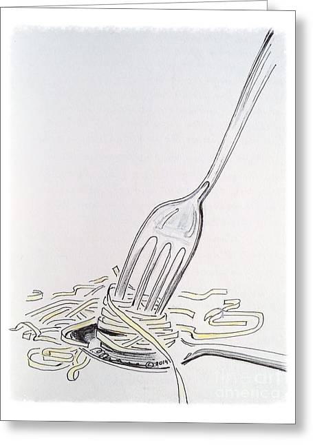 Spaghetti 101 Greeting Card by Barbara Chase