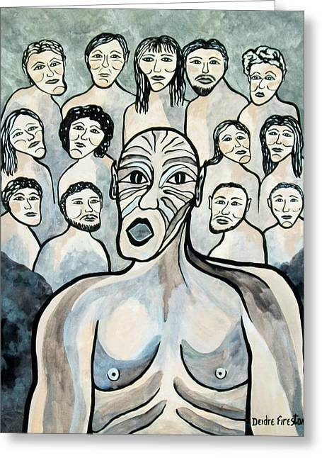 Twisted Faces Of The Torn And Demented Greeting Card by Deidre Firestone