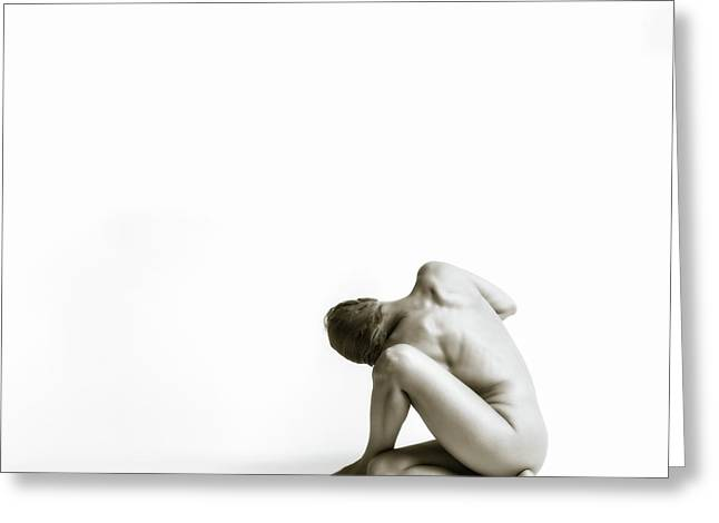 Greeting Card featuring the photograph Twisted Figure On White by Rikk Flohr
