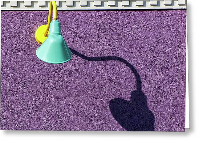 Greeting Card featuring the photograph Twisted Lamp And Shadow by Gary Slawsky