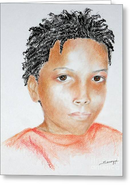 Twists, At 9 -- Portrait Of African-american Boy Greeting Card