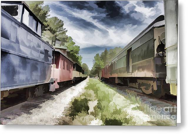 Twixt The Trains Greeting Card