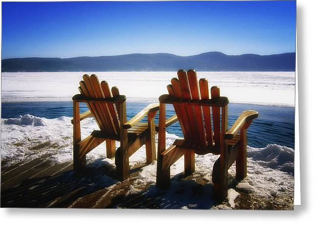 Empty Chairs Photographs Greeting Cards - Two Adirondack Chairs  Greeting Card by George Oze