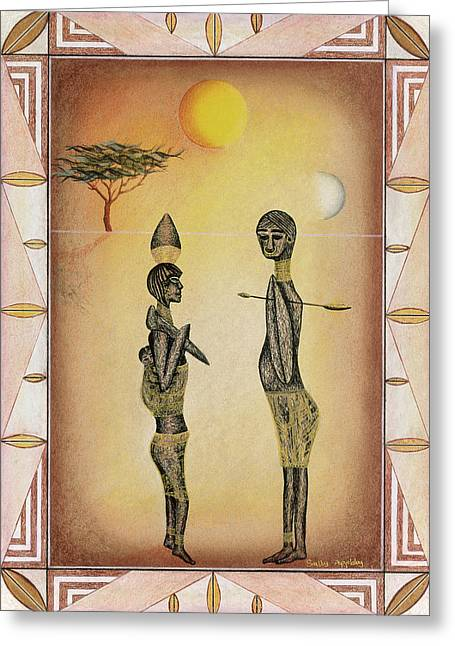 Two African Figures And Tree Greeting Card by Sally Appleby