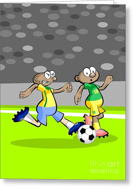 Two African Soccer Players Run In The Middle Of The Stadium Greeting Card