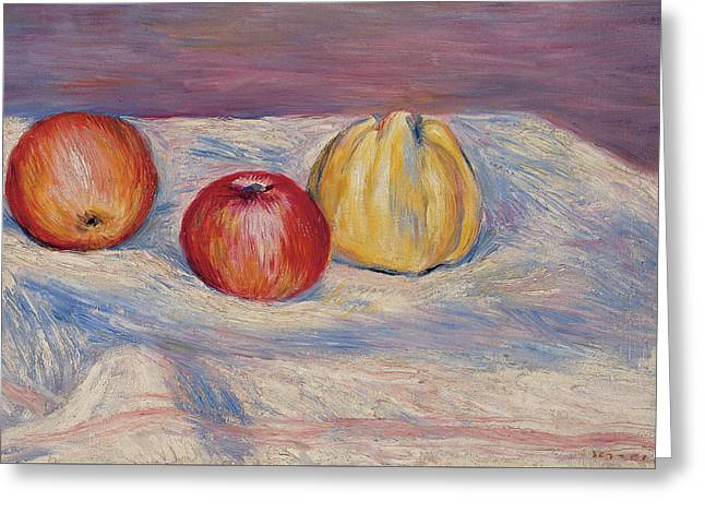 Two Apples And A Quince Greeting Card by Pierre Auguste Renoir