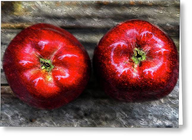 Two Apples On Table Oil Painting Greeting Card