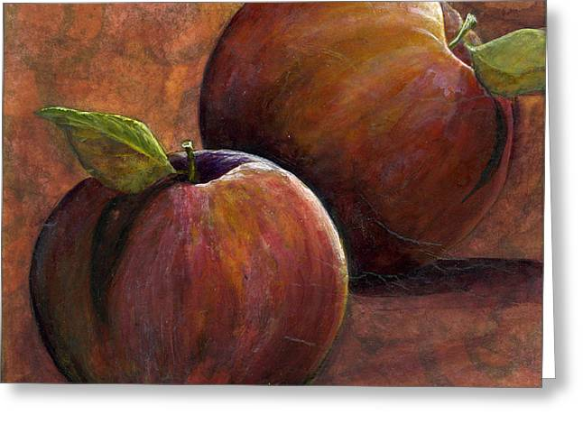 Two Apples Greeting Card by Sandy Clift