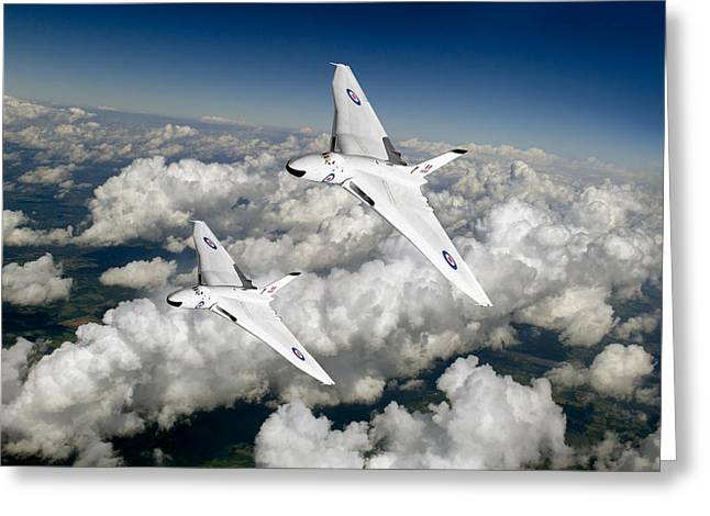 Two Avro Vulcan B1 Nuclear Bombers Greeting Card by Gary Eason