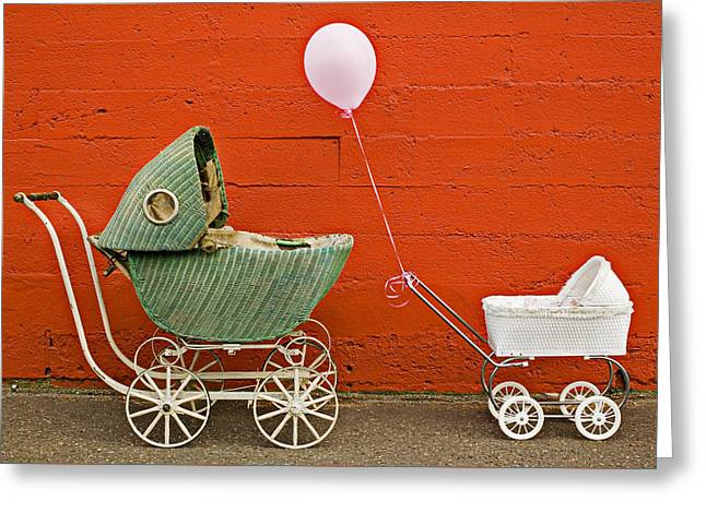 Two Baby Buggies  Greeting Card